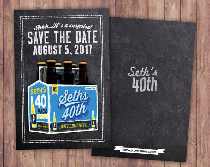 ANY AGE, save the date, Cheers and Beers, beer, 21st, 30th, 40th, 50th, 60th, 70th, Surprise Birthday Party,cheers