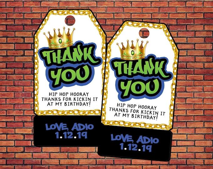 Party favor tag, fresh prince, 80s party, 90s party, retro, DJ Hip Hop, Music, graffiti, Hip Hop decor, Hip Hop tag, rap party, favor tag