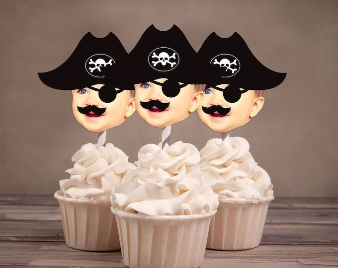 Photo Cupcake Toppers (pirate Hat Design) Digital File , pirate, ahoy, birthday, captain, pirate cupcake topper