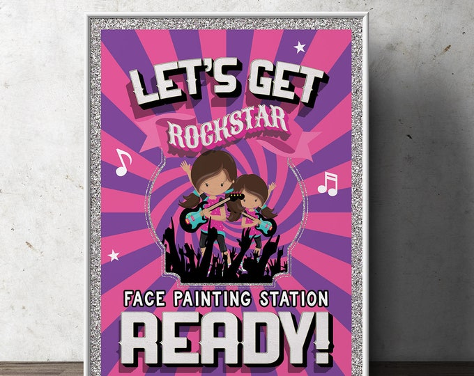 party sign, Pop Star party, Rock Star party, face painting, party decorations, rockstar, rockstar sign, rock star decor, printable