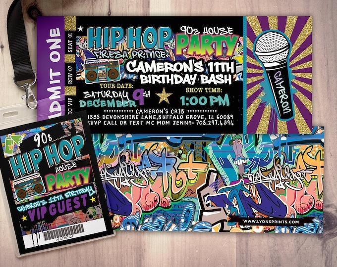 Fresh Prince, Birthday, Baby Shower, Hip Hop, Swagger, 90's, backstage pass, Vip invitation, invitation, Graffiti, birthday, DJ, 90's party