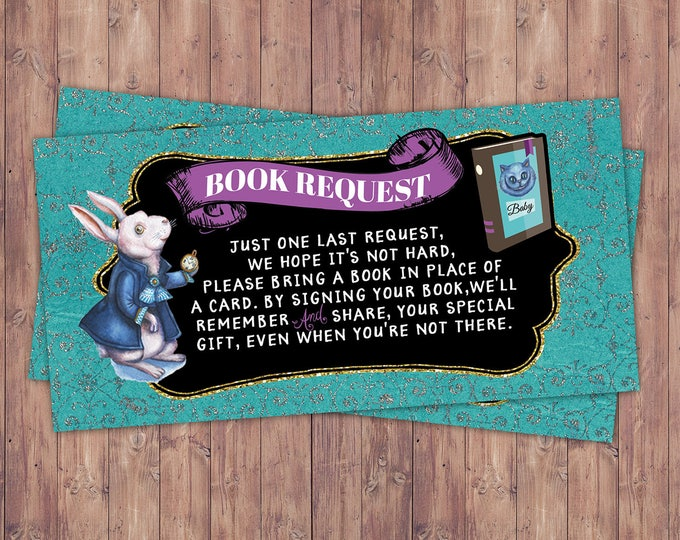 Book request, book insert, Mad Hatter Tea Party, Alice in Wonderland, baby shower,co-ed baby shower shower game