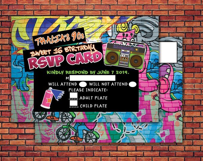 Hip Hop, RSVP card, Graffiti, throwback party, sweet 16, Fresh Prince, 90s party, 80s party, Hip hop theme