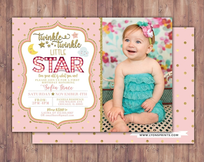 Twinkle twinkle little star first birthday invitation, first birthday invitation girl pink and gold, photo 1st birthday invitation, boy