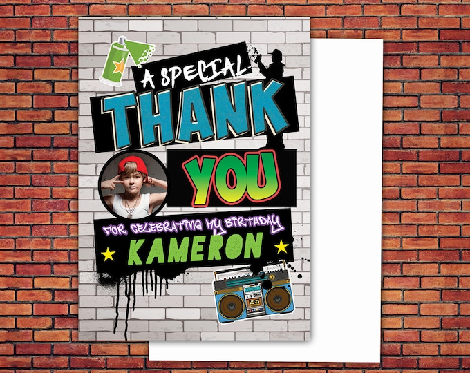 Thank you card, Hip Hop, Swagger, push it part, hip hop birthday, pop star,Fresh Prince, 80s,90s, throwback party, hip hop theme