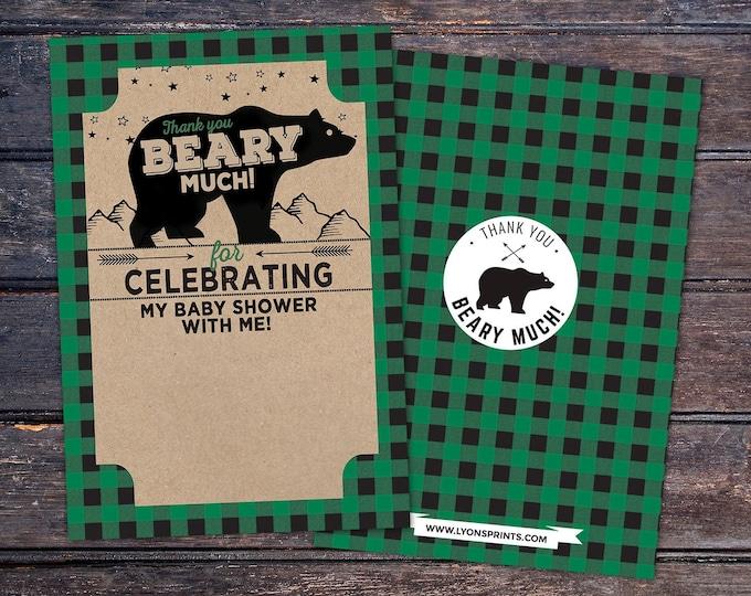 Baby shower, thank you, digital file only, Lumberjack thank you card, Lumberjack birthday, Buffalo Plaid Woodland. bear thank you card