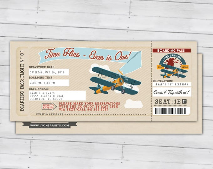 Time Flies, Vintage Airplane Boarding Pass Birthday Invitation- Vintage, Airplane, first birthday, ticket invitation, Digital files only