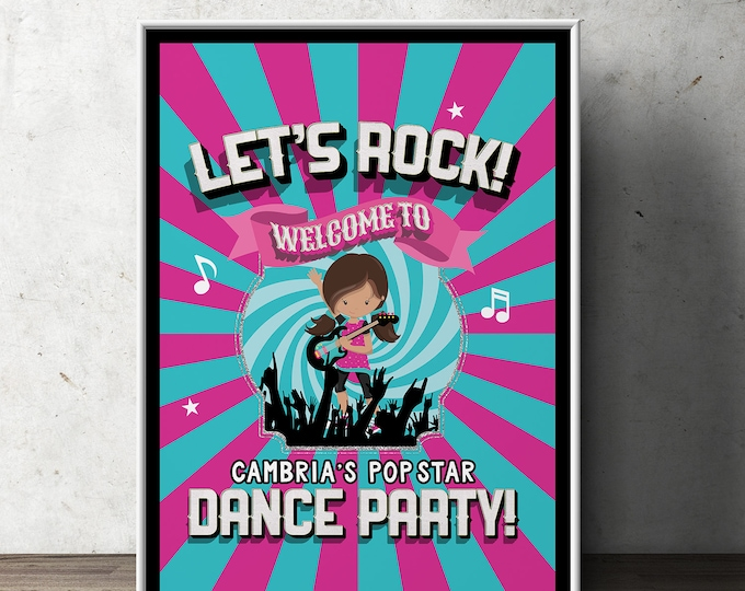 Welcome Party sign, Pop Star party, Rock Star party, baby shower, party decorations, party supplies, rockstar, rockstar sign, digital file