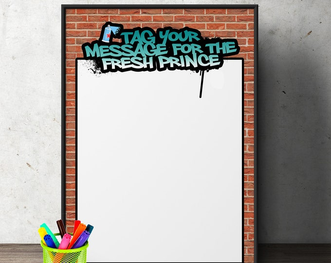 Fresh Prince, Message sign, Birthday, Baby Shower, Hip Hop, shower game, 90s, party decor, Graffiti, birthday, DJ, 90s  party printable