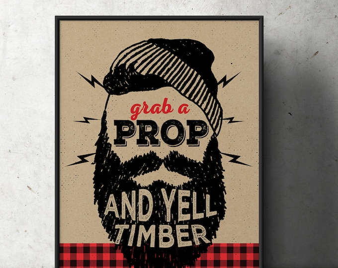 Lumberjack table sign, photo prop sign, Woodland party, flannel, woodland shower, woodland birthday, beard prop, Timber, printable file