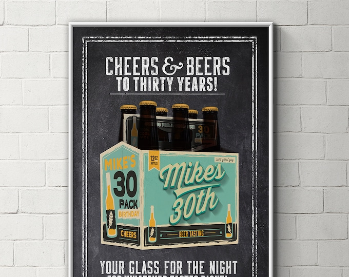Digital file only, Cheers and Beers, poster, beer, 21st, 30th, 40th, 50th, 60th, Surprise Birthday Party, adult birthday, invite, party sign