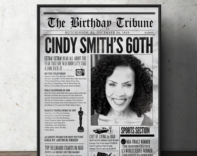 Birthday party decoration, 50th, 60th, 30th, 40th, 70th , Digital file only, birthday gift for women and men, Newspaper sign