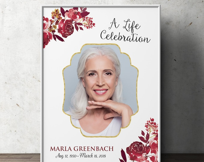 Funeral Welcome Sign, Celebration of Life Poster, Guest Book Table, Floral Memorial Sign, Customized Template Photo Sign | Digital file only