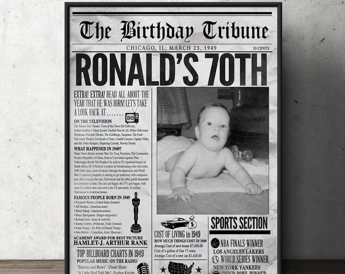 50th, 60th, 30th, 40th, 70th birthday party decoration, birthday gift for women and men - Newspaper sign,( Digital file only)