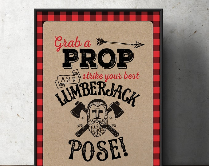 Lumberjack table sign, photo prop sign, Woodland party, flannel, woodland shower, woodland birthday, beard prop, Timber