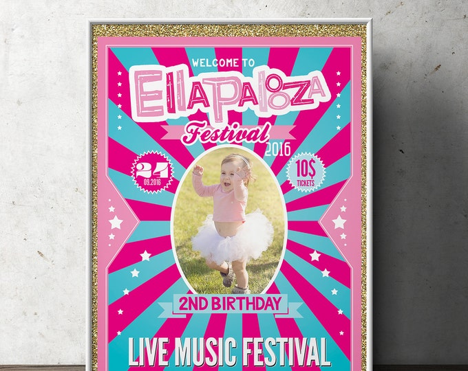 """Birthday Party sign """"ROCKSTAR"""" (Printable File Only) , baby shower, party decorations, party supplies, rockstar party, rockstar sign, poster"""