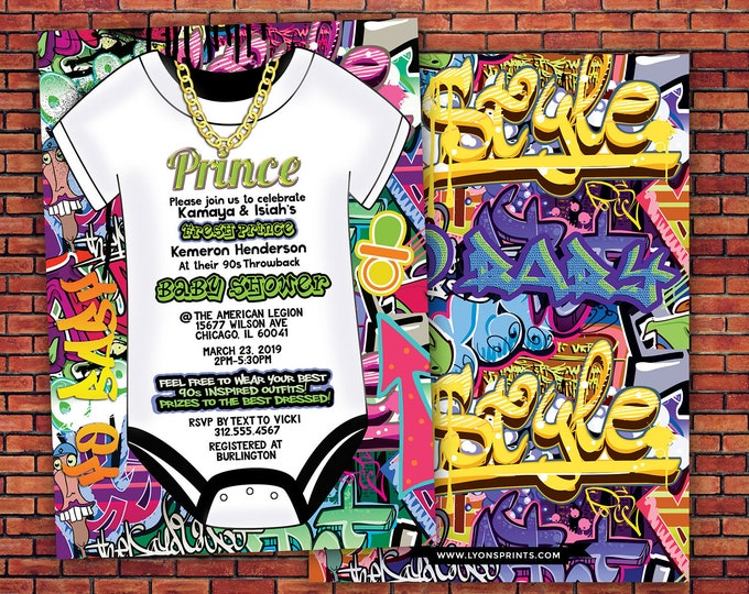 Prince, Baby Shower, Throwback shower, Hip Hop, 90s, Push it shower, Graffiti invite, Fresh, 90s party, hip hop theme, digital invite