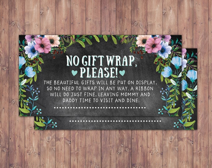 No gift wrap insert request, Floral, rustic, BOHO, BabyQ, chalkboard, Co-ed Baby Shower, BBQ, babyq, baby boy, baby girl, shower game