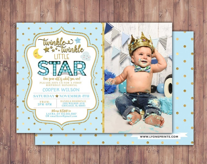 Twinkle twinkle little star first birthday invitation, first birthday invitation girl pink and gold, photo 1st birthday invitation, boy