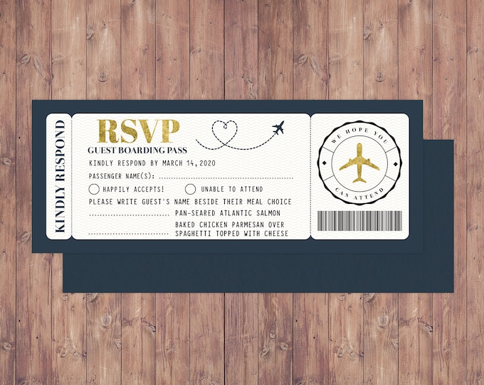 Airplane ticket, RSVP card,  birthday , travel birthday party, retirement party, going away party, travel, wedding RSVP, Digital files only