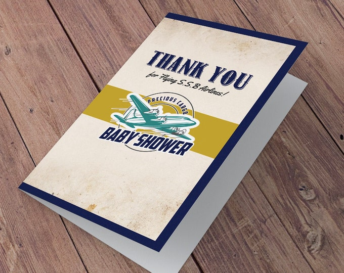 Thank you card,  greeting card, Airplane Baby Shower, Airplane, Vintage Airplane Baby Shower, Airplane, airplane thank you