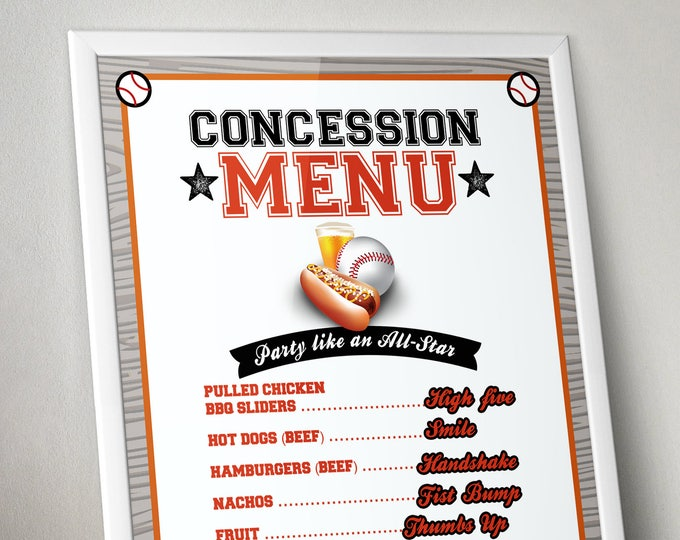 Digital Concession menu sign, Baseball birthday // All Star Birthday // Baby shower, party decor, sports birthday, Bar Mitzvah, poster