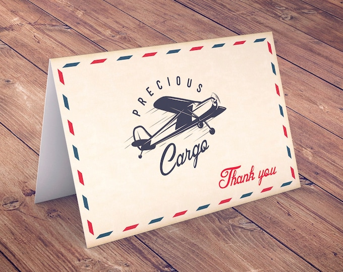 Precious Cargo thank you card, Baby Shower thank you , vintage airplane, Airplane, vintage, travel, digital file only