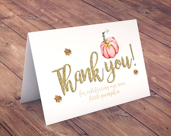 Little Pumpkin Baby Shower, thank you card, pumpkin baby shower, fall baby shower, pumpkin watercolor, greeting card