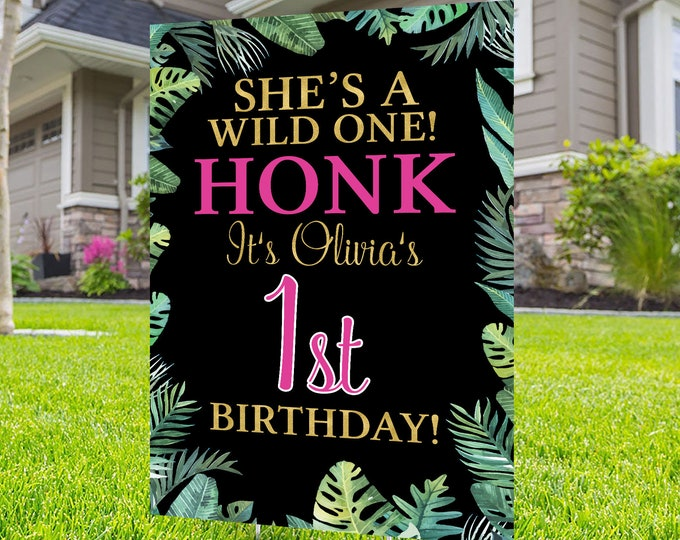 Happy birthday Yard Sign design, Digital file only, Honk outdoor sign, Quarantine Birthday , Birthday Yard Sign, Happy Birthday Sign, Jungle