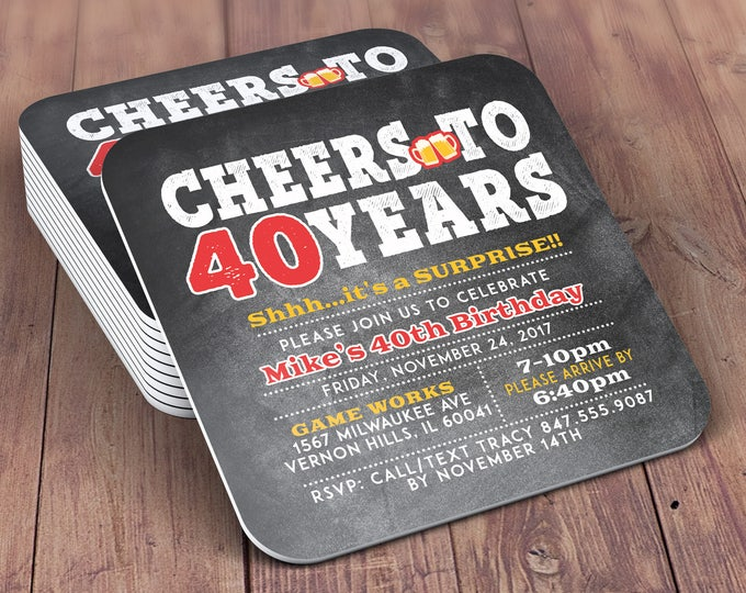 Any Age, DIGITAL FILE ONLY, Cheers and Beers invitation, beer, 21st, 30th, 40th, 50th, 60th, 70th, Milestone birthday