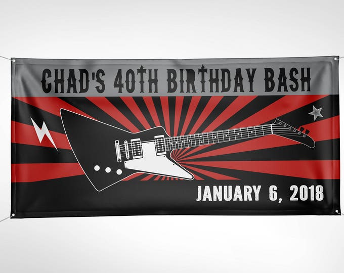 Banner, Digital file only, Rock Star birthday party banner- Music, guitar, party decor, rockstar baby shower, welcome banner