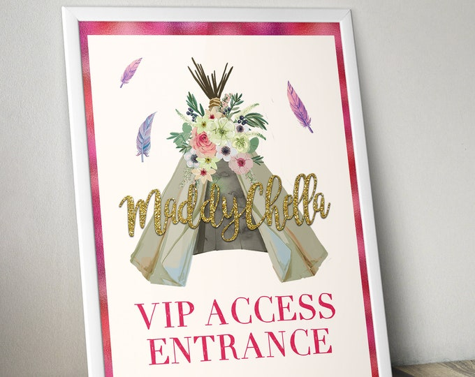 Welcome sign, BOHO, Teepee, Birthday party decor, Music festival, poster, sign, glitter