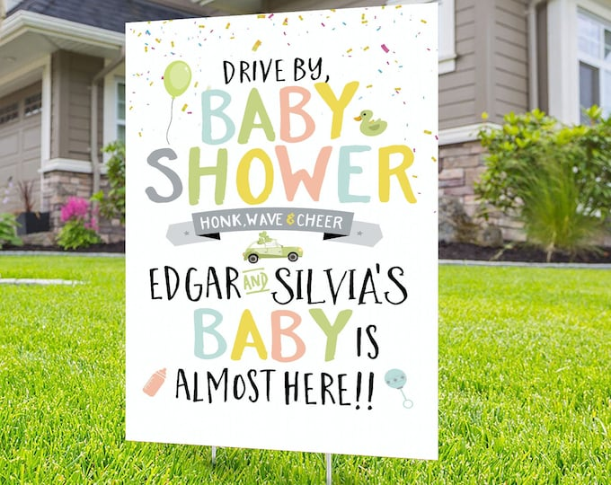 Drive by baby shower, yard sign design, Digital file only, yard sign, social distancing drive-by shower party, car parade, quarantine party
