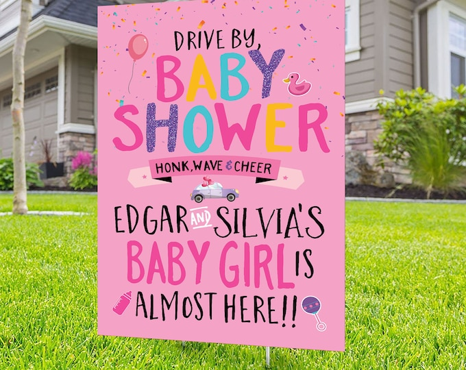 Drive by baby shower lawn sign design, Digital file only, yard sign, social distancing drive-by shower party, car parade, quarantine party