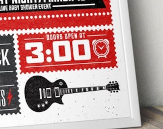 Rock Star theme poster, rockstar, baby shower, rock star party, pop star, welcome sign, birthday decor, rock birthday  Digital file