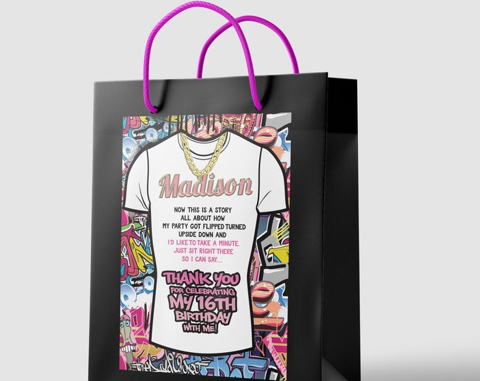 Digital file only, Favor bag labels, Fresh Prince, Birthday, Baby Shower, Hip Hop, 90s, Graffiti ,90s party, HipHop party GRAFFITI, stickers
