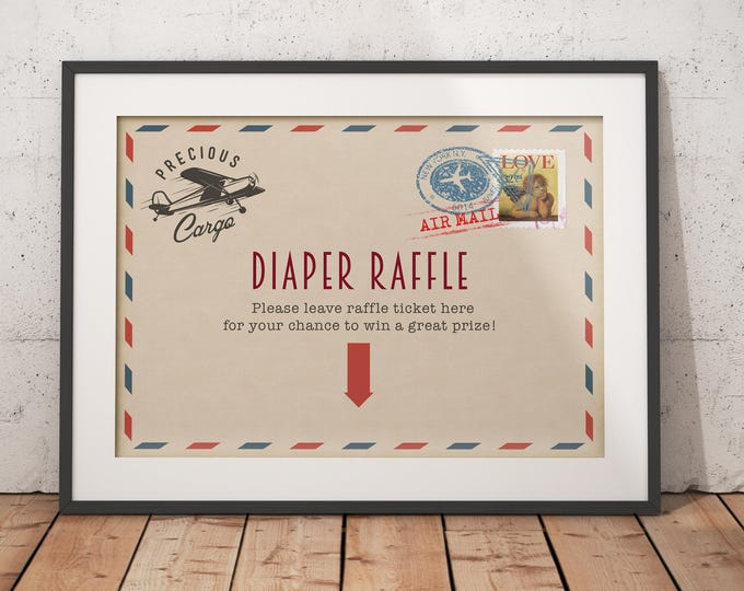 Precious Cargo, table signs, Baby Shower, Baby Shower, vintage airplane, diaper raffle, printable