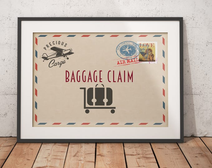Precious Cargo, table signs,  airplane Baby Shower decor  Baby Shower, vintage airplane party