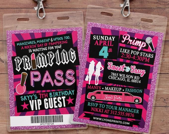 Spa party, primping, Pop star, Rock Star VIP pass, birthday party invitation- primp, rockstar party, pop star, karaoke party, Digital files