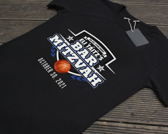 Digital logo only, Football birthday shirt, basketball shirt, sports birthday, Bar Mitzvah, party favor, all-star