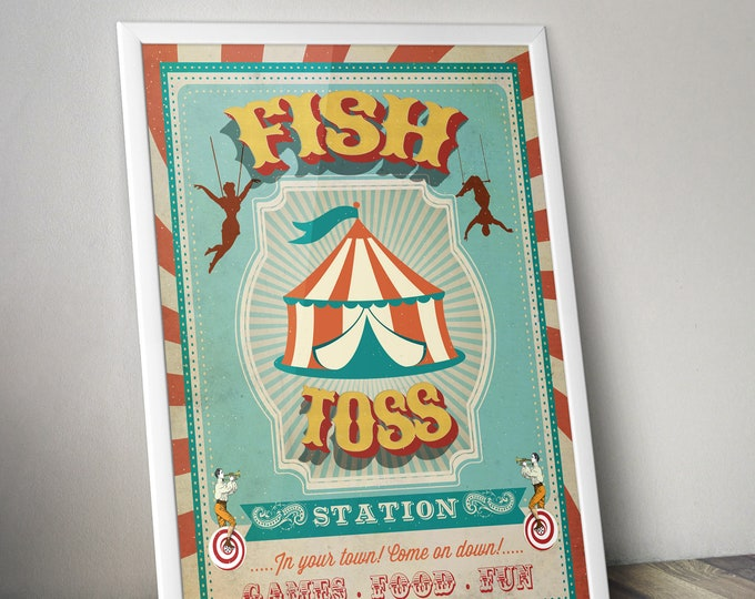 Carnival Party - Circus Party - party station sign - fish toss sign - Vintage circus- Vintage Carnival - Digital file only