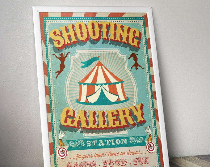Carnival Party - Circus Party - party station sign - shooting gallery sign - Vintage circus- Vintage Carnival - Digital file only