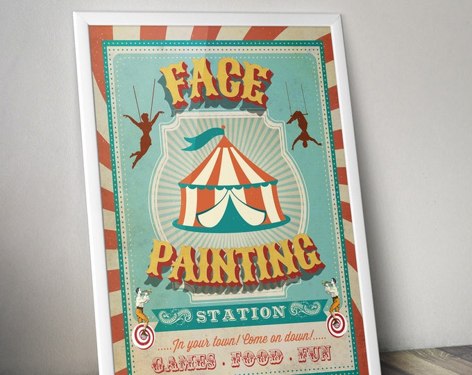 Carnival Party - Circus Party - party station sign - face painting sign - Vintage circus- Vintage Carnival - Digital file only