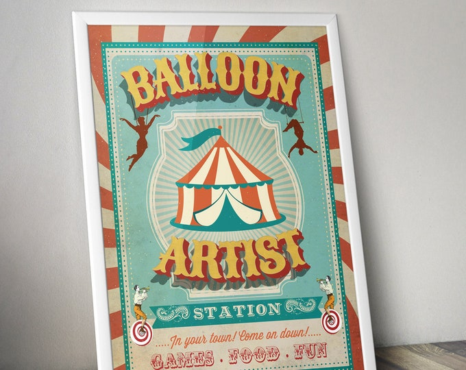 Carnival Party - Circus Party - party station sign - balloon artist sign - Vintage circus- Vintage Carnival - Digital file only