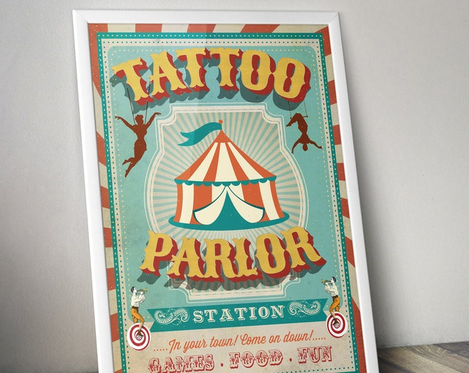 Carnival Party - Circus Party - party station sign - tattoo parlor sign - Vintage circus- Vintage Carnival - Digital file only