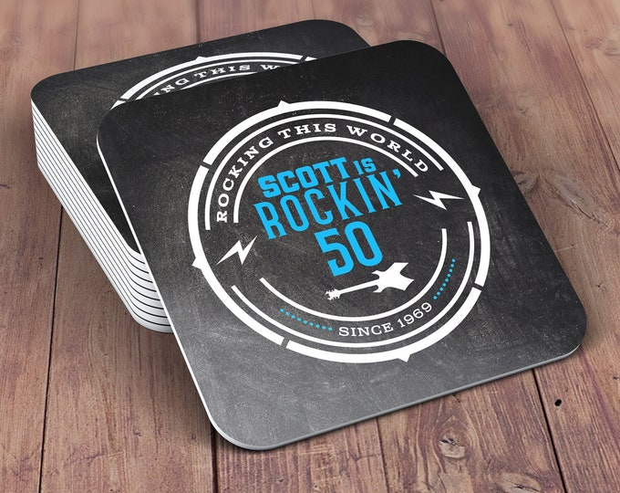 Digital logo file, Coaster, Rockstar birthday, beer, 21st, 30th, 40th, 50th, 60th, 70th, Birthday Party, Surprise party, Milestone