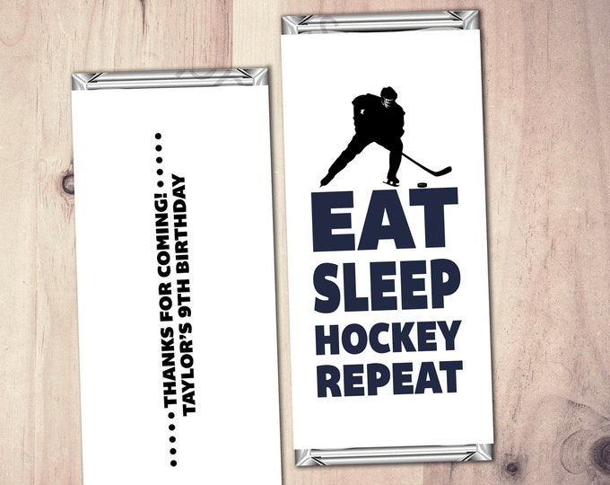 Personalized Hockey Candy Wrapper,  Hockey Gifts, team gift, Hockey Birthday party favor, hockey birthday, gift, thank you
