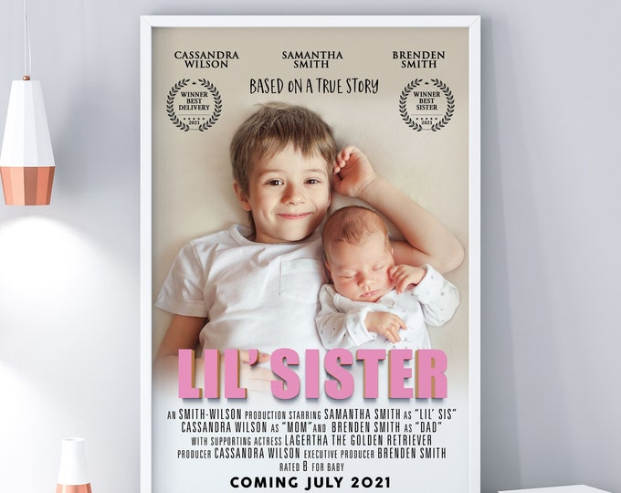 Custom movie poster, Digital file only, Personalized Poster, baby shower gift, big sister gift, big brother gift, Holiday gift