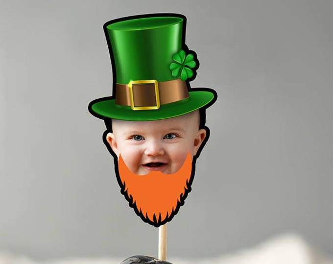 Photo Cupcake Toppers Digital File -St. Patrick's Day, Shamrock, lucky, Saint Patrick's Day, Four leaf clover, leprechaun, Four-leaf clover