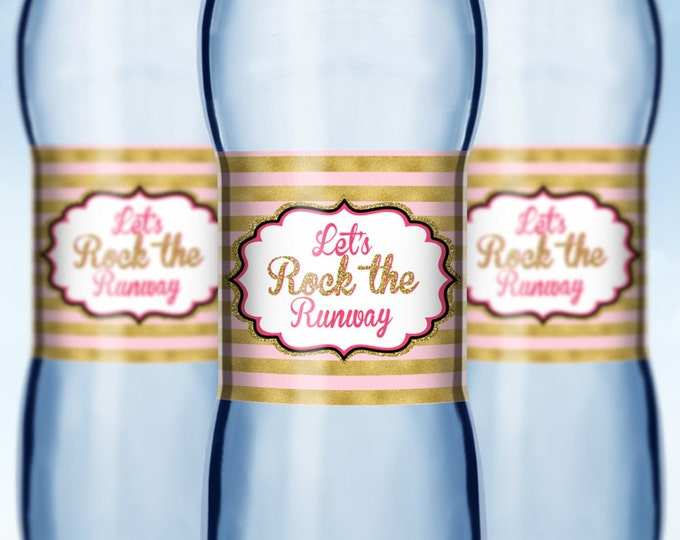 Rock the Runway water labels, fashion party decor- pop-star- rockstar party, fashion birthday, glitter, runway,